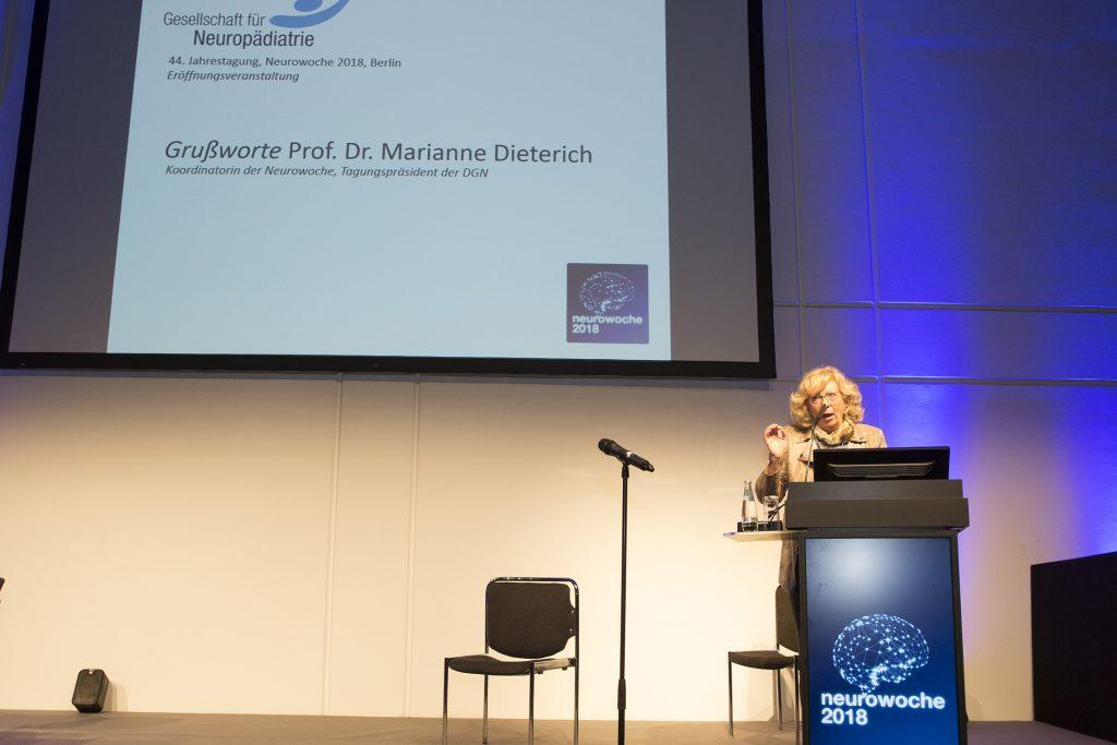 Prof. Dr. Marianne Dieterich (München), Tagungspräsidentin DGN 2018 anlässlich der Eröffnungsveranstaltung der GNP am 01.11.2018