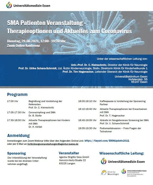 SMA Patienten Veranstaltung - Therapieoptionen und Aktuelles zum Coronavirus
